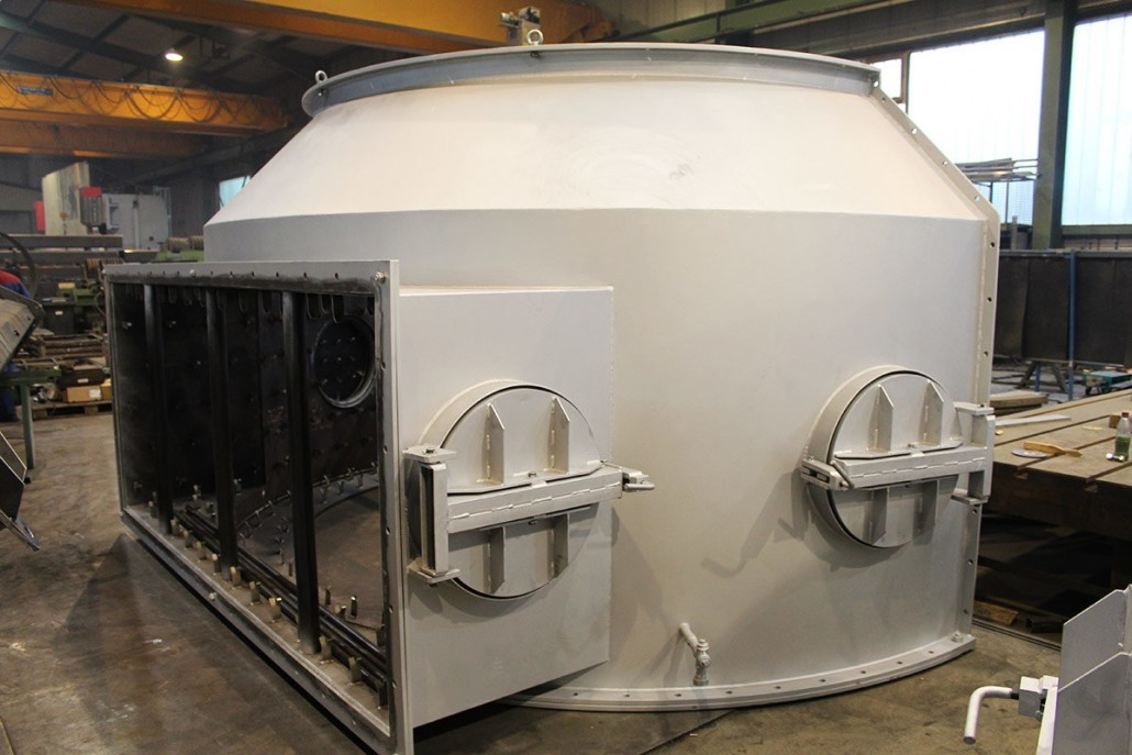 Casting furnace hood, coated