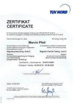 Zertifikat für MT nach DIN EN ISO 9712:2012