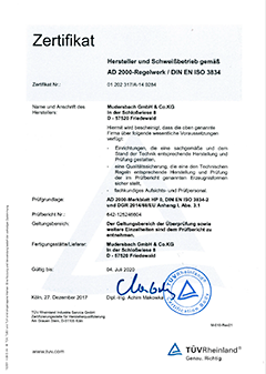 Welding specialist certification as per AD2000 HP0 and DIN EN ISO 3834-2