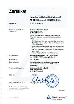 Zertifikat zu Schweißfachbetrieb nach AD2000 HP0 und DIN EN ISO 3834-2