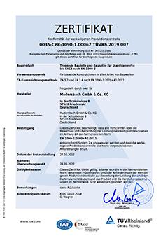 Allgemeines Zertifikat EN 1090-1 EXC 4 – werkseigene Produktionskontrolle