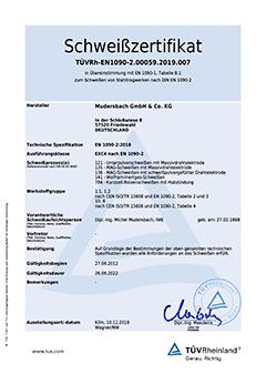 Schweißzertifikat DIN EN 1090-2 EXC 4