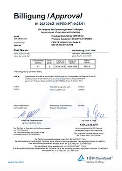Zertifikat für PED PT-4403/00