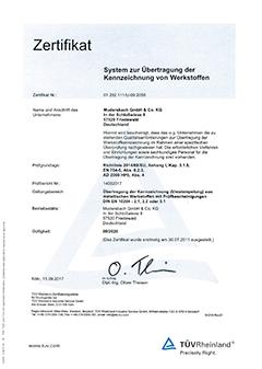 Zertifizierung für das Übertragen der Kennzeichnung (Umstempelbescheinigung)